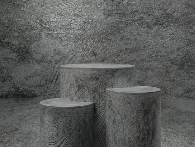 Metallpodestmodell der abstrakten szene mit verzinktem hintergrund.