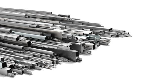 Metallprofile in verschiedenen formen und größen auf weißem hintergrund. 3d-rendering