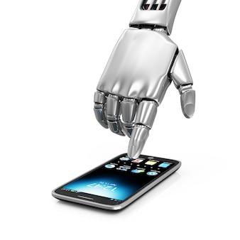 Metallroboter-hand, die smartphone berührt