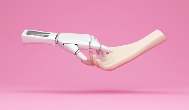 Metallroboterhand und menschliche hand auf studiohintergrund