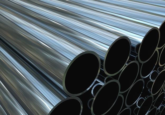 Metallrohre. 3d abbildung. machen