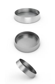 Metallschüssel für hunde oder katzen isoliert auf weißem hintergrund. 3d-darstellung