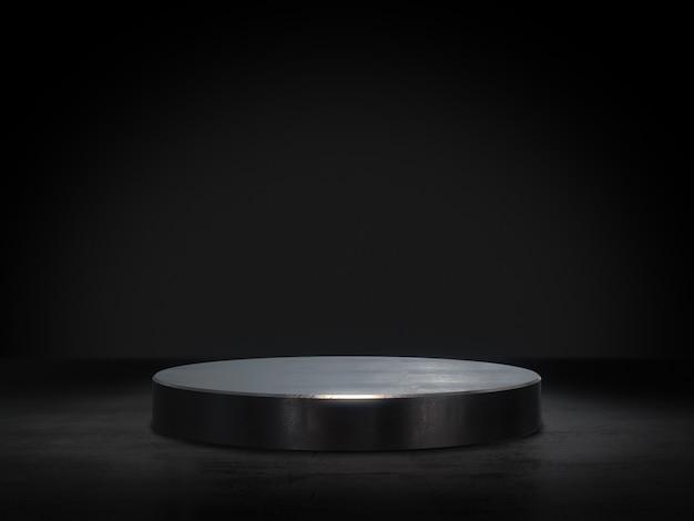 Metallsockel für anzeige, plattform für design, leerer produktstand wiedergabe 3d.