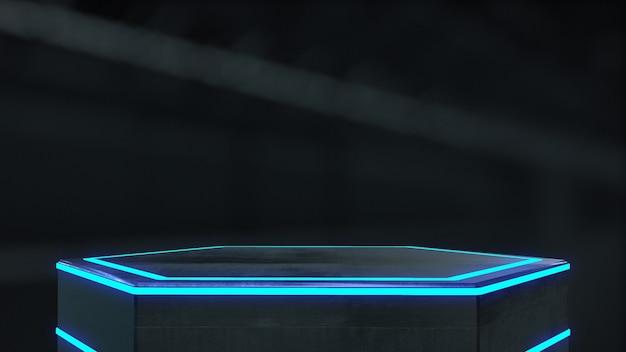 Metallsockel mit hellem schein für den hintergrund der produktshow