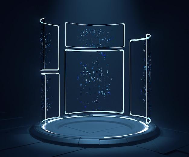 Metallsockel mit leuchtendem licht und hi-tech-led-hud-panels