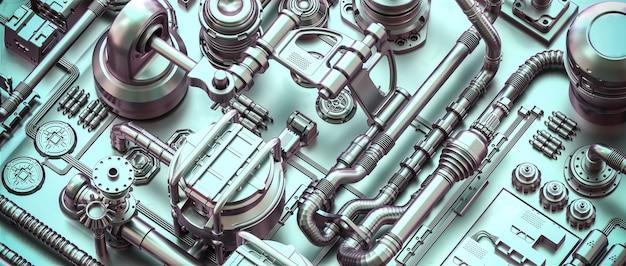 Metallstruktur mit kabeln und rohren im sci-fi-stil