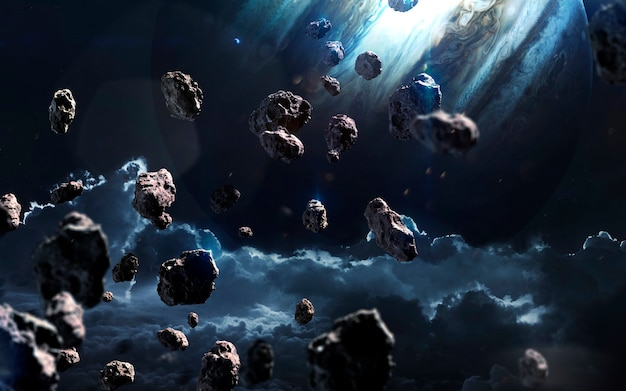 Meteoriten. deep space image, science-fiction-fantasie in hoher auflösung, ideal für tapeten und drucke. elemente dieses bildes von der nasa geliefert