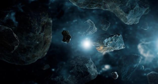 Meteoriten in weltraumplaneten.