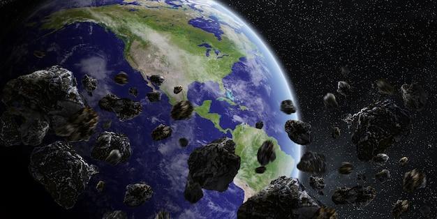 Meteoriteneinschlag auf den planeten erde im weltraum