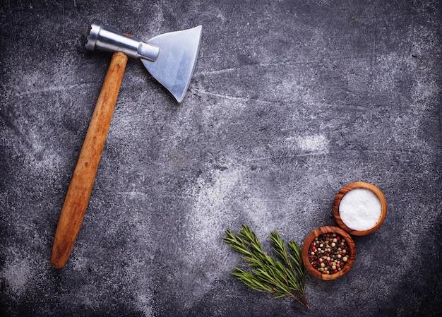 Metzger axt für fleisch und gewürze.