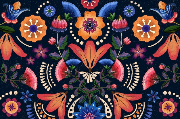 Mexikanische ethnische blumenmusterillustration