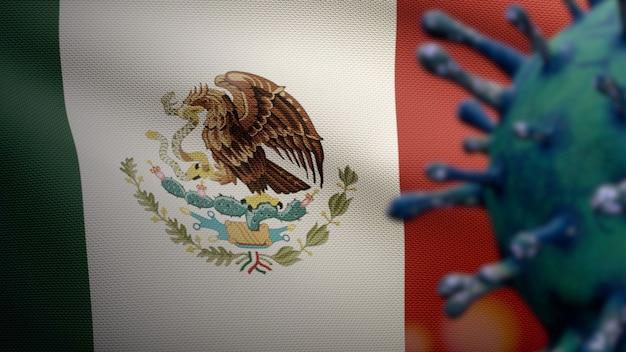 Mexikanische flagge weht mit coronavirus-ausbruch, der die atemwege als gefährliche grippe infiziert. influenza-virus vom typ covid 19 mit nationalem mexiko-banner, das im hintergrund weht. pandemie-risikokonzept