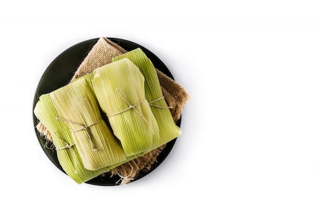 Mexikanische mais und hühnchen tamales