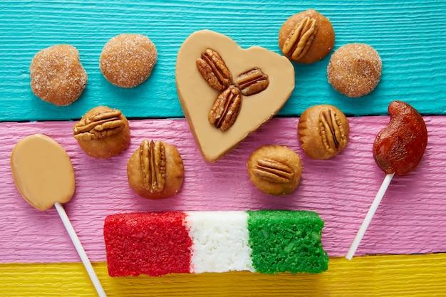 Mexikanische süßigkeiten cajeta pekannuss kokosnuss flagge
