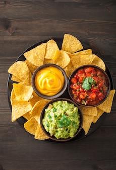 Mexikanischer guacamole-salsa-dip mit nachos