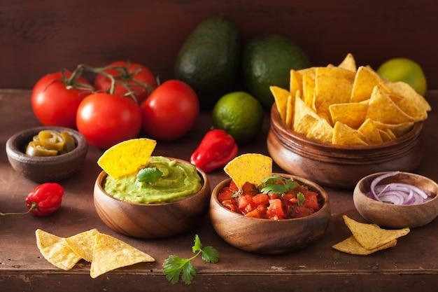 Mexikanischer guacamole-salsa-dip, nachos-tortilla-chips