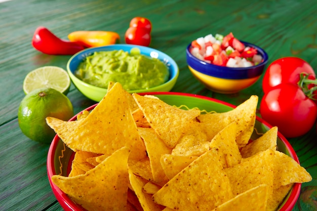 Mexikanischer lebensmittel nachos guacamole pico gallo chili