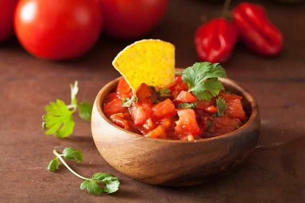 Mexikanischer salsa-dip und nachos-tortilla-chips