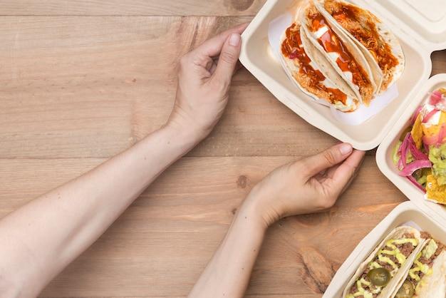 Mexikanisches essen zum mitnehmen umweltfreundlich