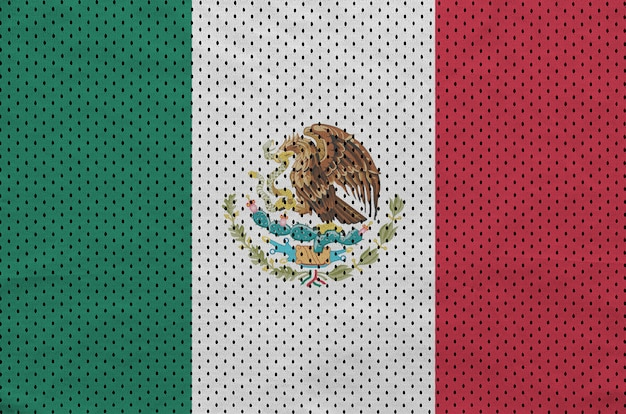 Mexiko-flagge auf sportswear-netzgewebe aus polyester-nylon gedruckt