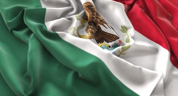 Mexiko-flagge gekräuselt schön winken makro nahaufnahme schuss