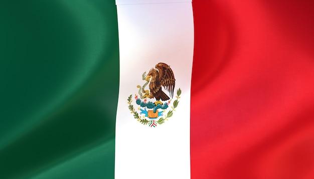 Mexiko-flagge rendern mit textur