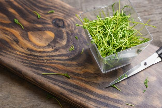 Microgreens. linsensprossen auf einem hölzernen hintergrund.