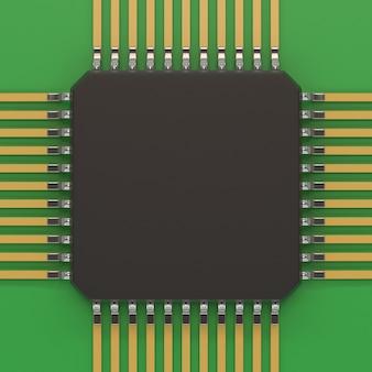 Mikrochipeinheit auf grüner platte