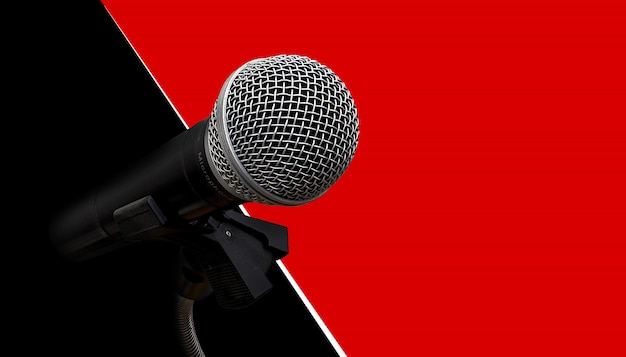 Mikrofon an roter und schwarzer wand