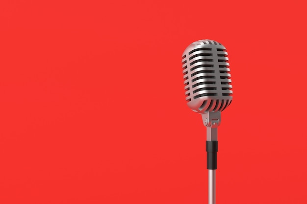 Mikrofonmodell auf rotem hintergrund. 3d-rendering.