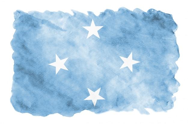 Mikronesien-flagge wird in der flüssigen aquarellart dargestellt, die auf weiß lokalisiert wird