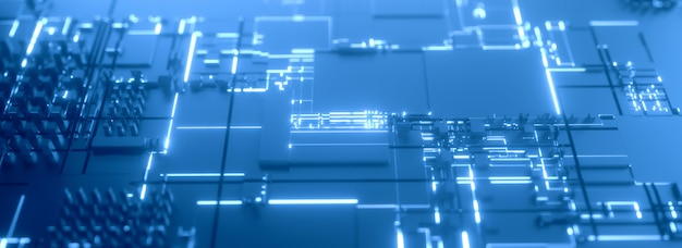 Mikroprozessor blau futuristischer 3d hintergrund