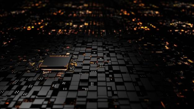 Mikroprozessor-chipsatz-zentralprozessoreinheit auf der beleuchtung