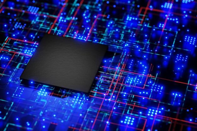 Mikroprozessor, ein chip auf dem motherboard. künstliche intelligenz. blockchain-technologie. 3d-rendering.