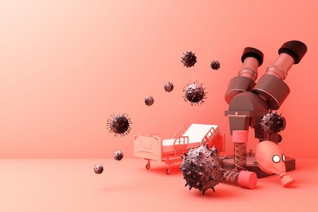 Mikroskop und virus mit krankenhausbett und masken-3d-rendering