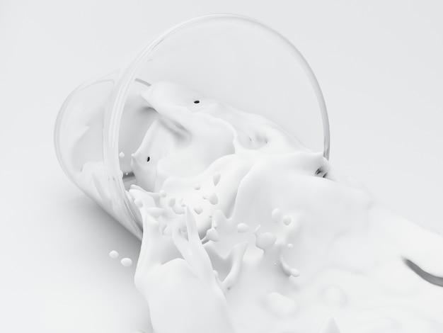 Milch 3d, die aus glas heraus spritzt