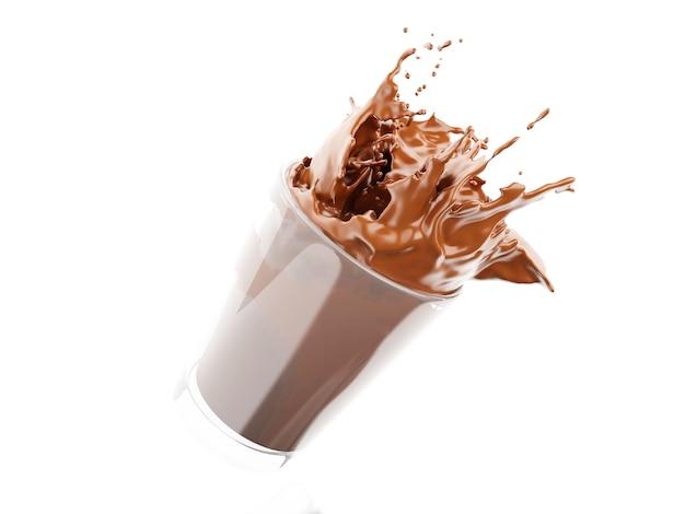 Milch der schokolade 3d, die aus glas heraus spritzt