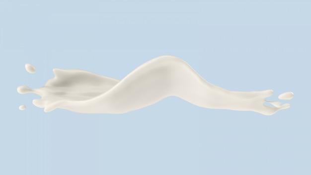 Milch- oder joghurtspritzen, illustration 3d.