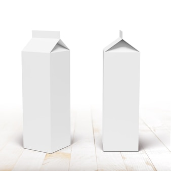 Milch- oder saftkartonverpackungsbox vorder- und seitenansicht auf weißem brettertisch. 3d-rendering-modell.