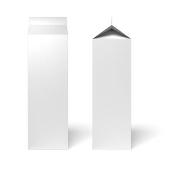 Milch- oder saftkartonverpackungskasten vorder- und seitenansicht isoliert auf weißem hintergrund. 3d-rendering