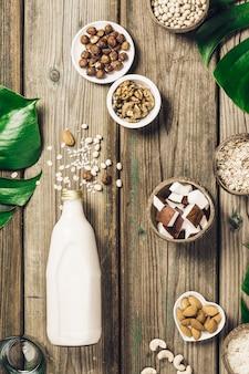 Milchfreies milchersatzgetränk und zutaten
