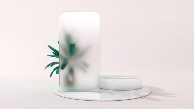 Milchglasrahmen einer telefonschablonenanwendung auf dem podium. 3d-illustration. vorderansicht. marmorzylinderszene mit monstera-blättern lokalisiert auf hintergrund.