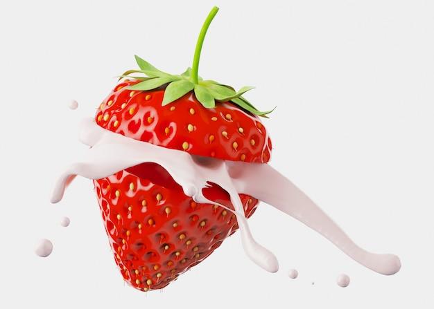 Milchjoghurt spritzen von erdbeere auf weißem hintergrund. 3d-rendering-illustration.