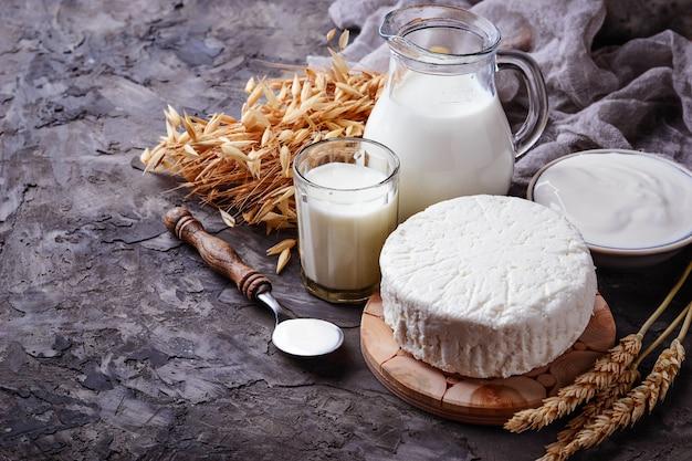 Milchprodukte milch, hüttenkäse, sauerrahm und weizen. selektiver fokus