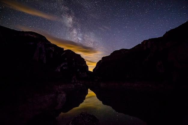 Milchstraßenblick bei nacht zwischen bergen
