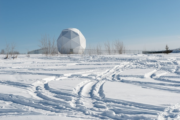 Militär satellitenkommunikation dish in alaska