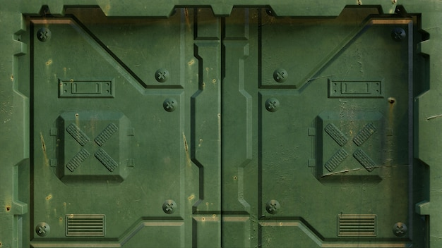 Militärische grüne science-fiction-tür von raumfahrzeuginstallationen und futuristischen wissenschaftlichen forschungszentren, isoliert. 3d-rendering