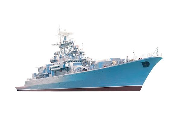 Militärische marineschiff isoliert auf weißem hintergrund