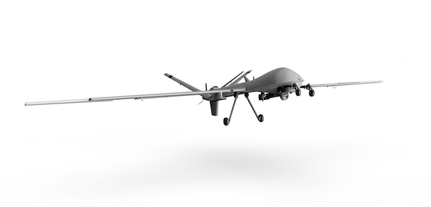 Militärische predator-drohne auf weißem hintergrund 3d-rendering Premium Fotos