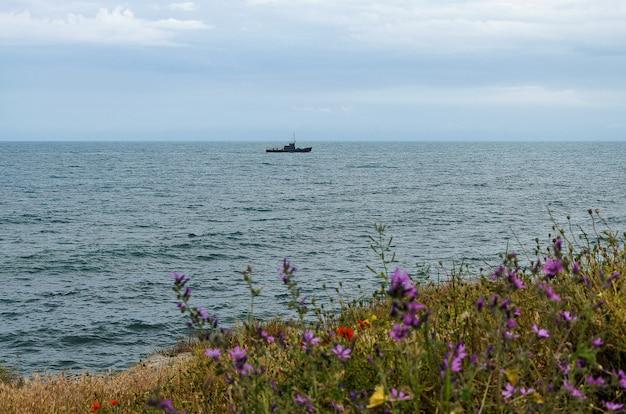 Militärmarineschiffe in einem meer, in einem schlachtschiff mit blauem himmel und in einem meer.